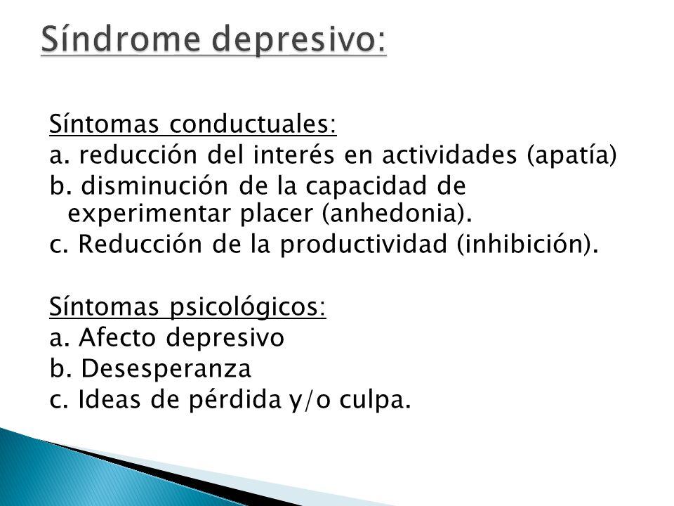 Síndrome depresivo: Síntomas conductuales: