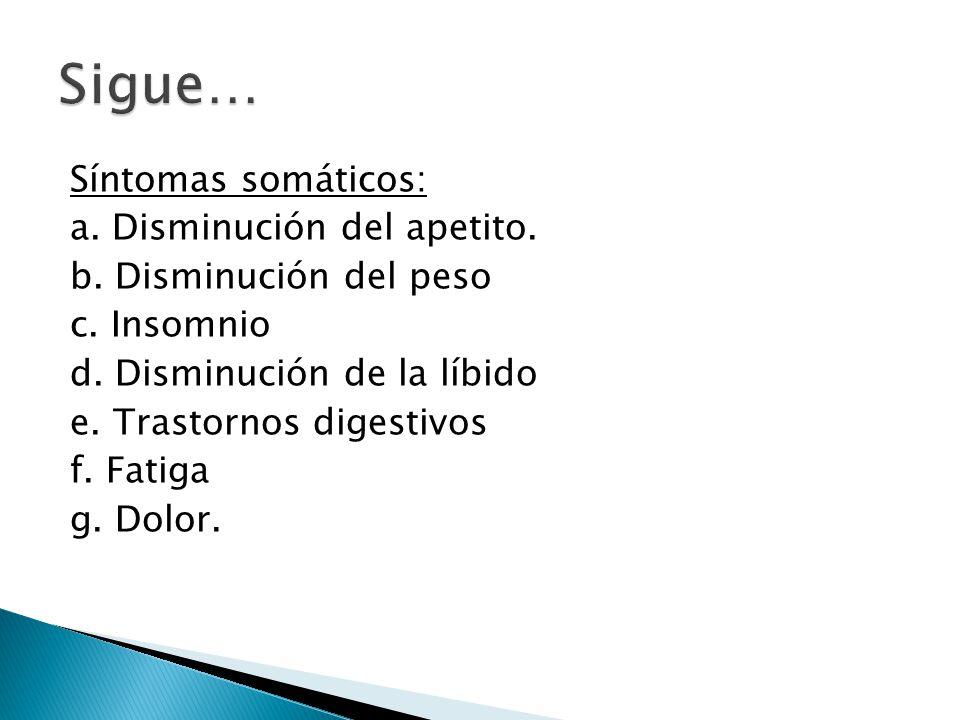 Sigue… Síntomas somáticos: a. Disminución del apetito.