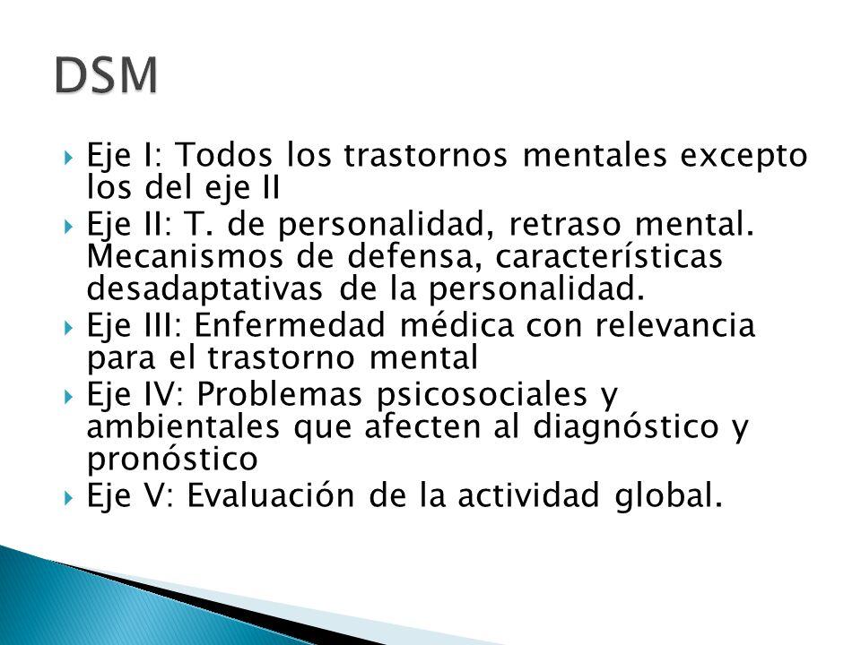 DSM Eje I: Todos los trastornos mentales excepto los del eje II