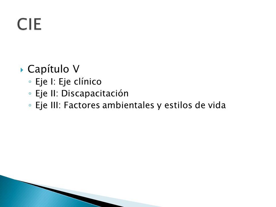 CIE Capítulo V Eje I: Eje clínico Eje II: Discapacitación