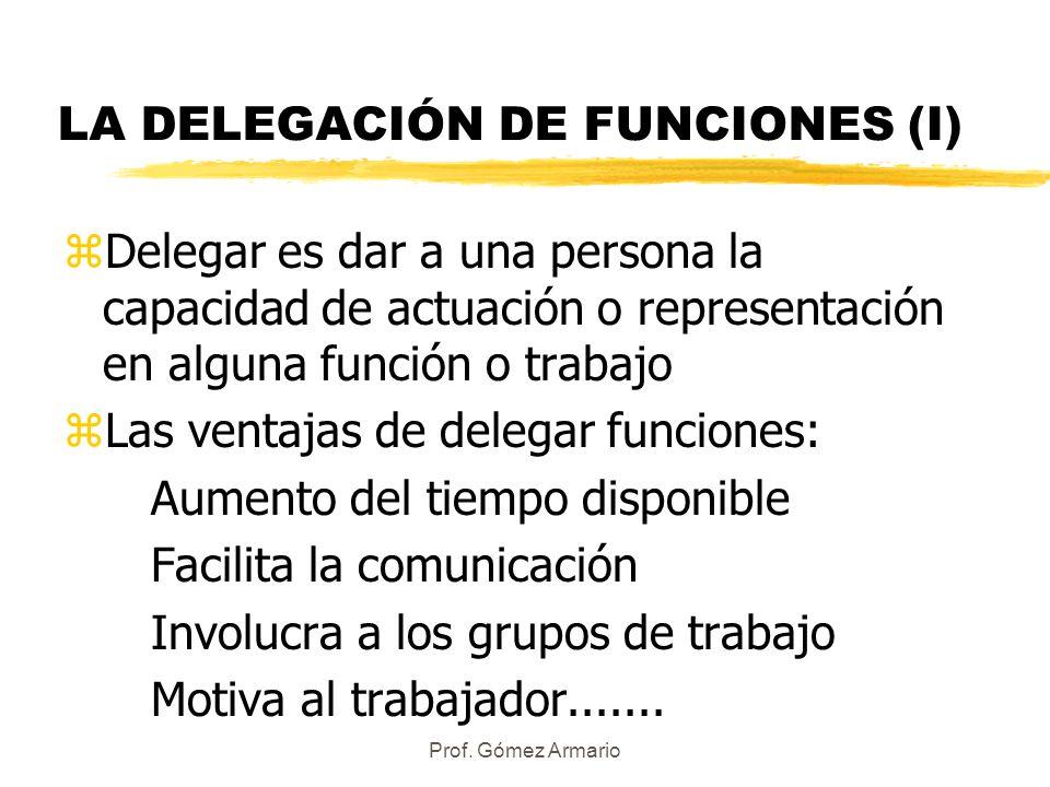 LA DELEGACIÓN DE FUNCIONES (I)