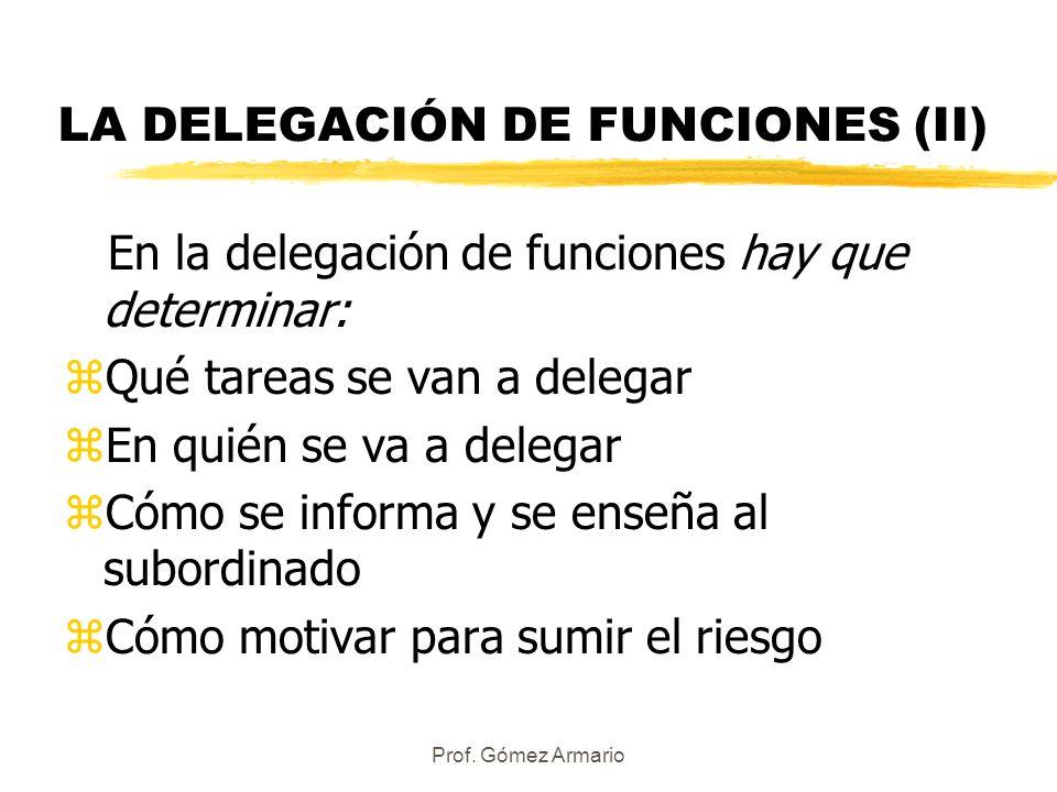 LA DELEGACIÓN DE FUNCIONES (II)