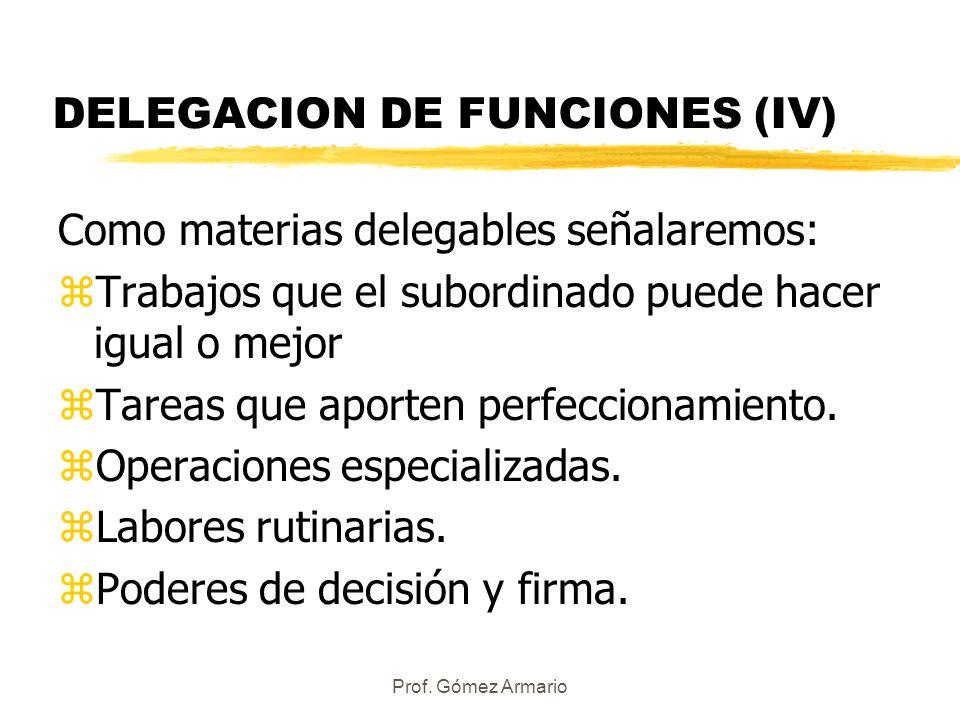 DELEGACION DE FUNCIONES (IV)