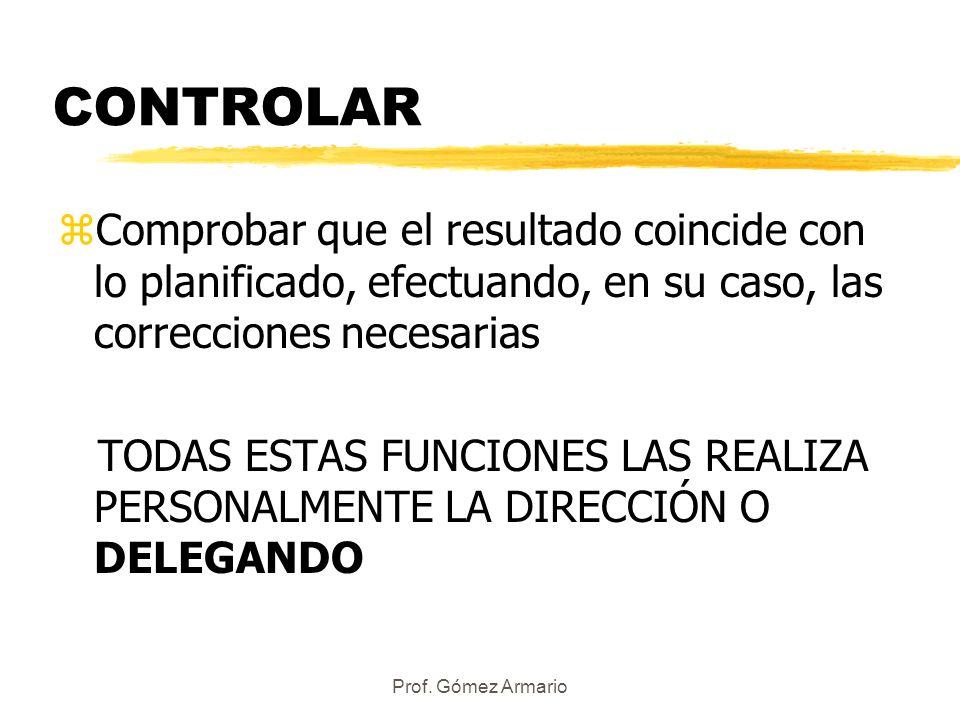 CONTROLAR Comprobar que el resultado coincide con lo planificado, efectuando, en su caso, las correcciones necesarias.
