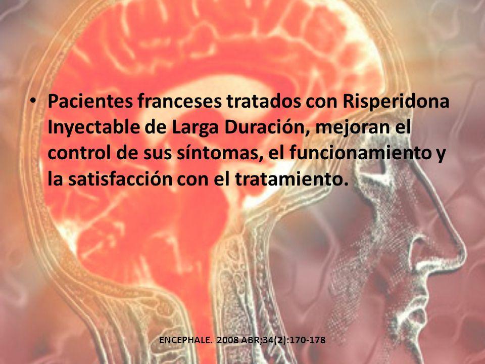Pacientes franceses tratados con Risperidona Inyectable de Larga Duración, mejoran el control de sus síntomas, el funcionamiento y la satisfacción con el tratamiento.
