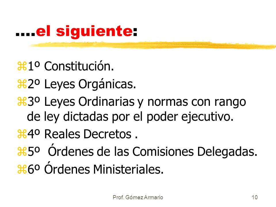 ....el siguiente: 1º Constitución. 2º Leyes Orgánicas.