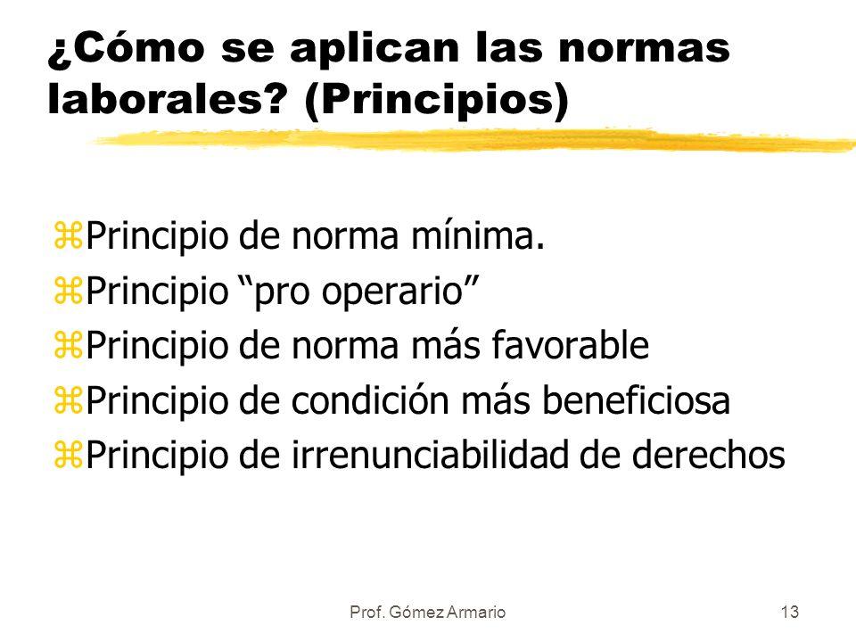 ¿Cómo se aplican las normas laborales (Principios)