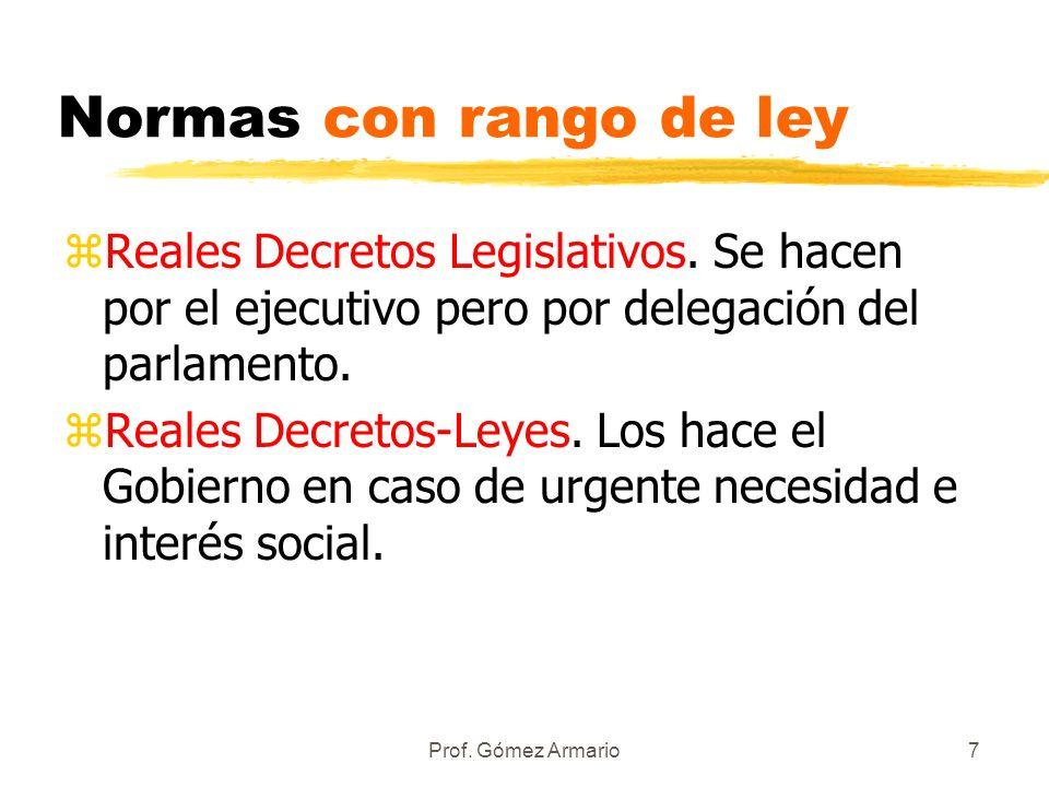 Normas con rango de ley Reales Decretos Legislativos. Se hacen por el ejecutivo pero por delegación del parlamento.