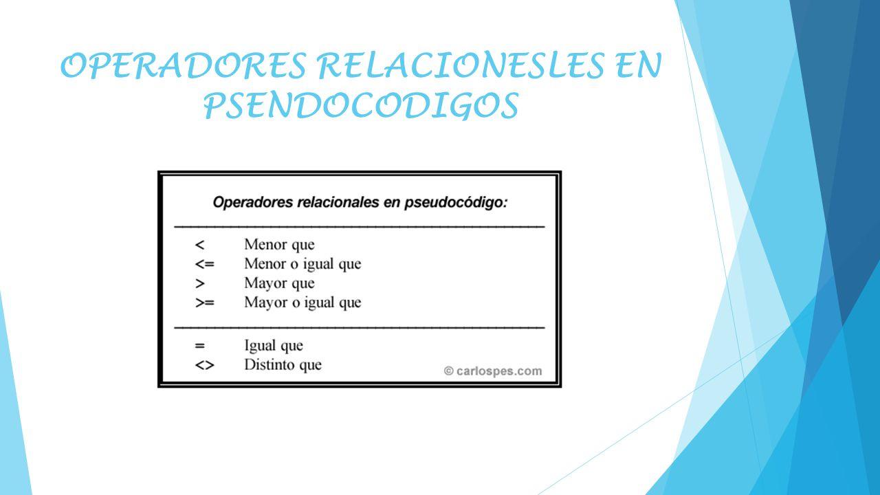 OPERADORES RELACIONESLES EN PSENDOCODIGOS