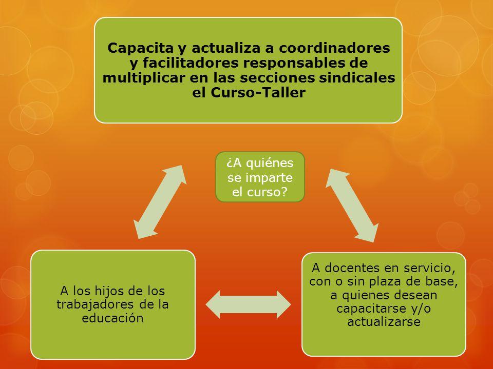 Capacita y actualiza a coordinadores y facilitadores responsables de multiplicar en las secciones sindicales el Curso-Taller