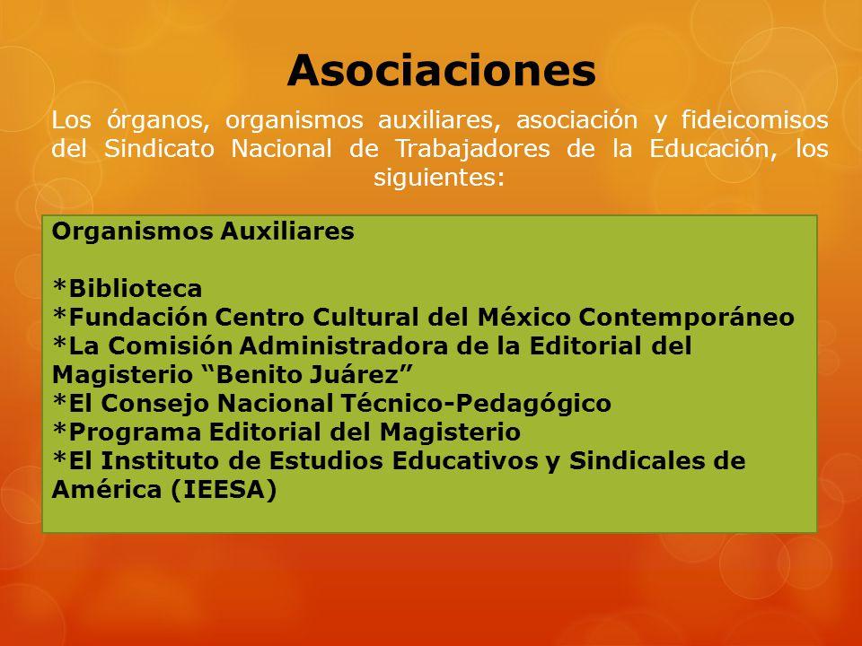 Asociaciones Los órganos, organismos auxiliares, asociación y fideicomisos del Sindicato Nacional de Trabajadores de la Educación, los siguientes: