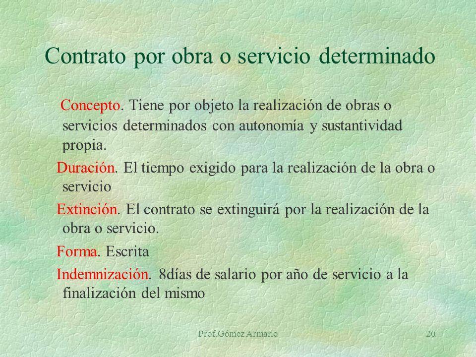 Contrato por obra o servicio determinado