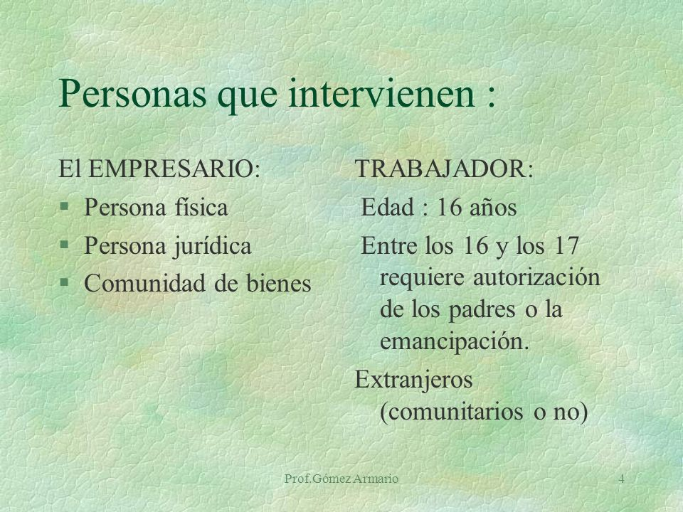 Personas que intervienen :