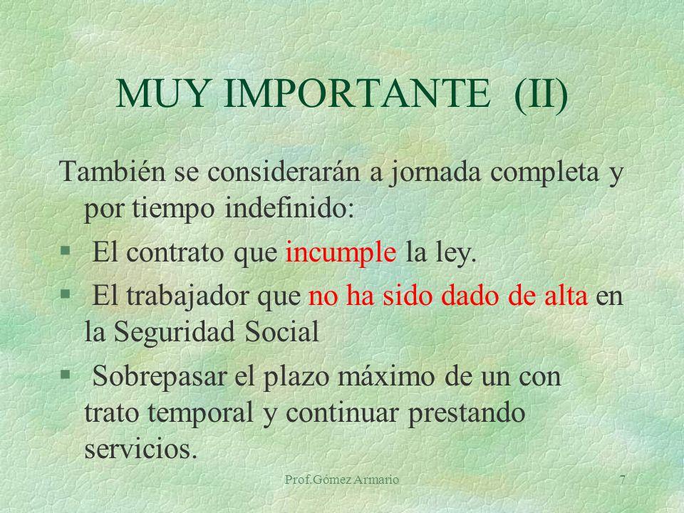 MUY IMPORTANTE (II) También se considerarán a jornada completa y por tiempo indefinido: El contrato que incumple la ley.