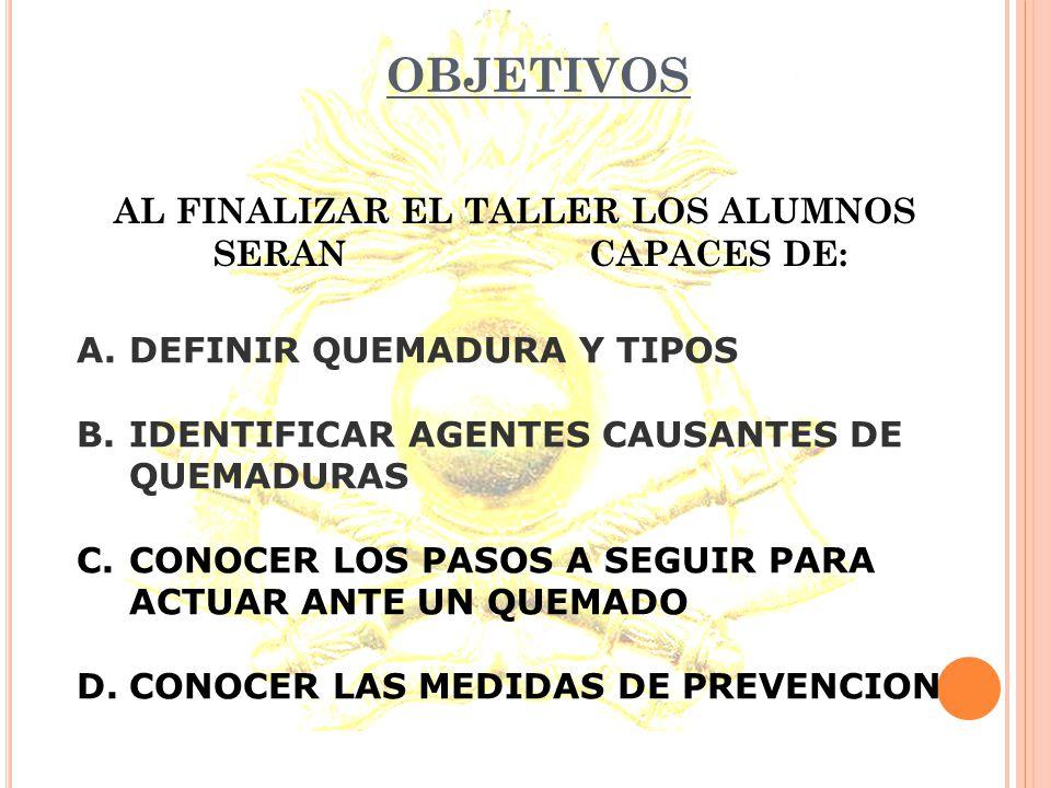 AL FINALIZAR EL TALLER LOS ALUMNOS SERAN CAPACES DE:
