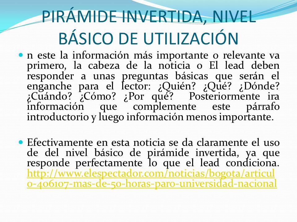 PIRÁMIDE INVERTIDA, NIVEL BÁSICO DE UTILIZACIÓN