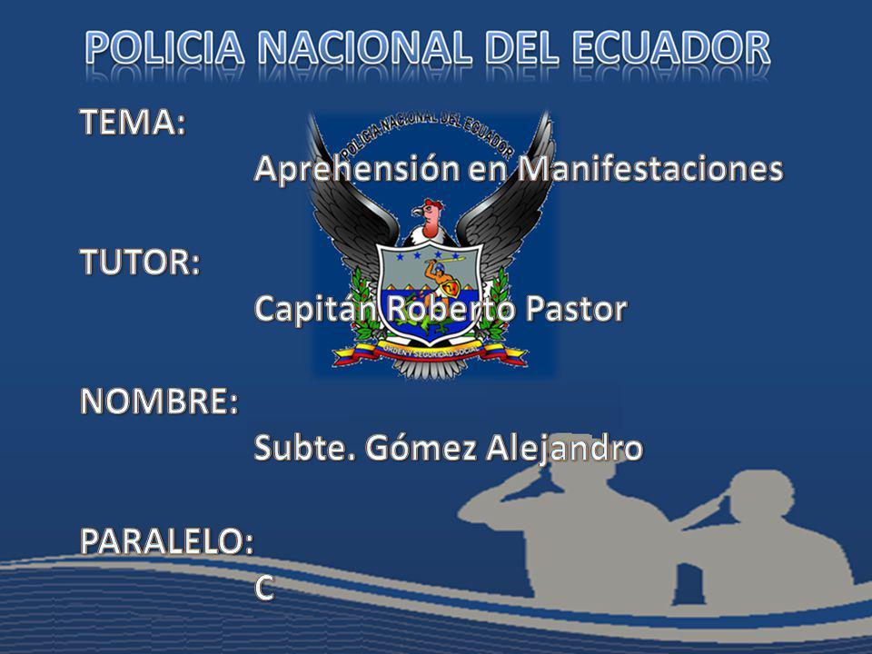 TEMA: Aprehensión en Manifestaciones. TUTOR: Capitán Roberto Pastor. NOMBRE: Subte. Gómez Alejandro.