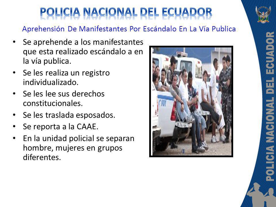 Aprehensión De Manifestantes Por Escándalo En La Vía Publica