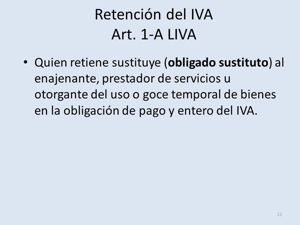 Retención del IVA Art. 1-A LIVA