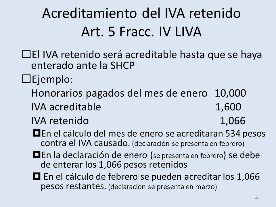Acreditamiento del IVA retenido Art. 5 Fracc. IV LIVA