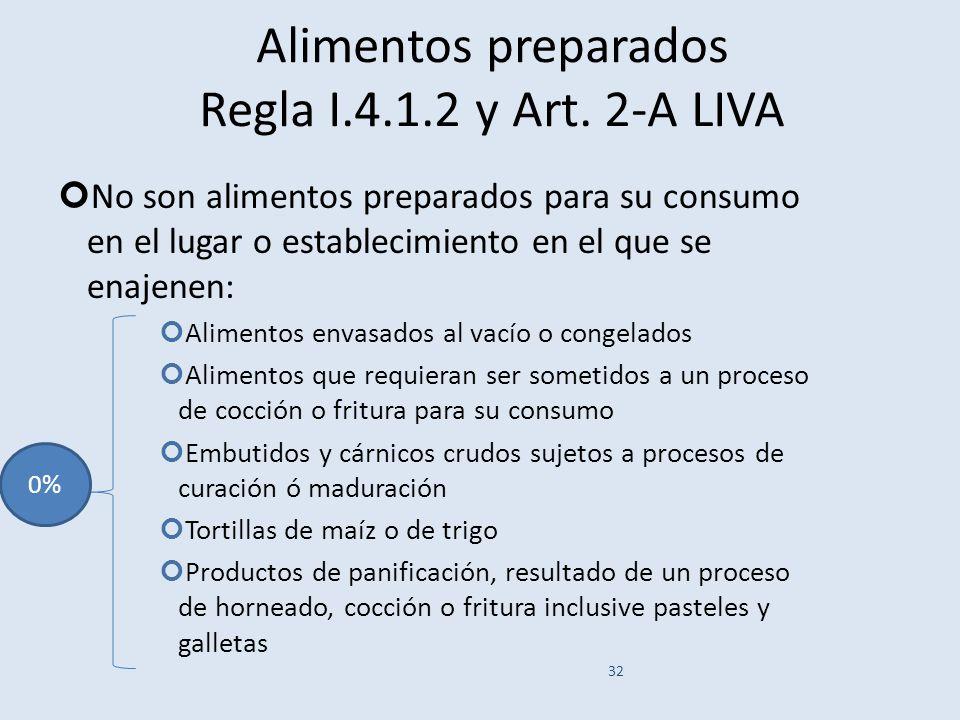 Alimentos preparados Regla I.4.1.2 y Art. 2-A LIVA