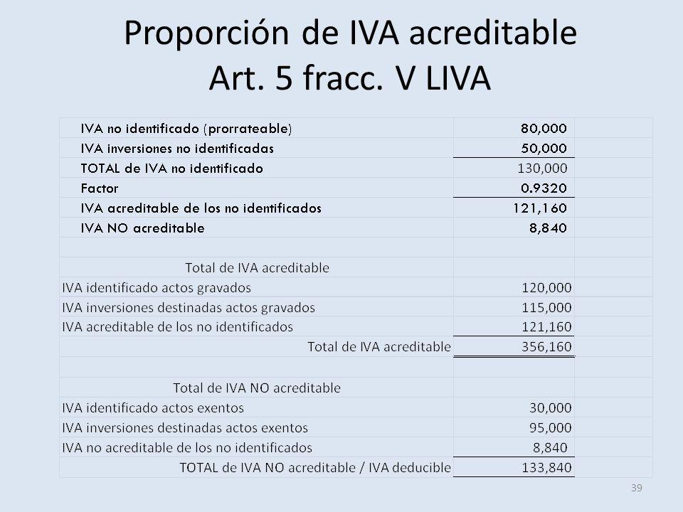 Proporción de IVA acreditable Art. 5 fracc. V LIVA