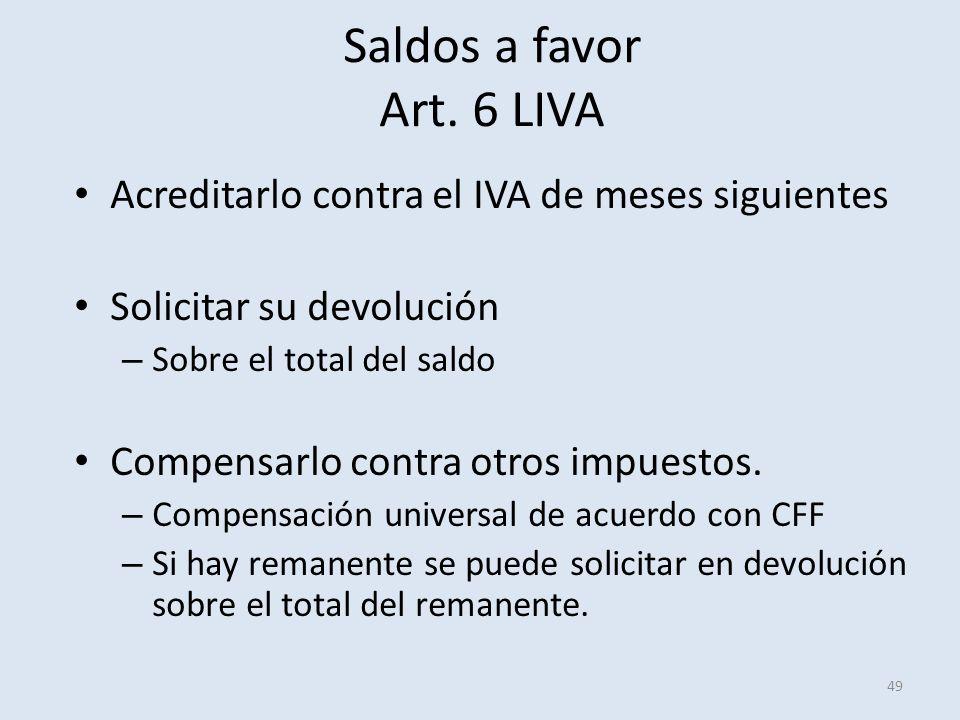 Saldos a favor Art. 6 LIVA Acreditarlo contra el IVA de meses siguientes. Solicitar su devolución.