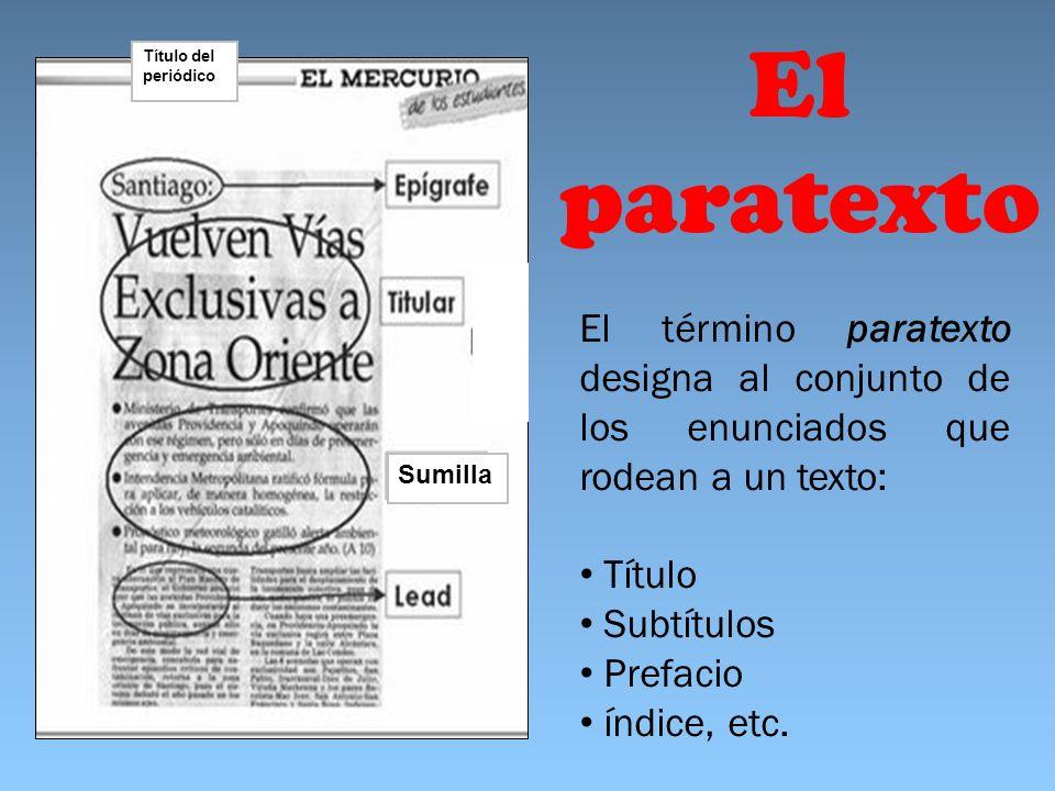 Título del periódico El paratexto. El término paratexto designa al conjunto de los enunciados que rodean a un texto:
