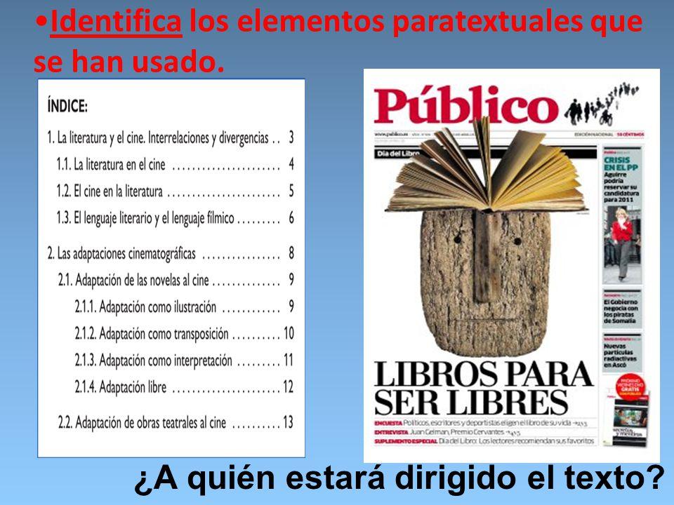 Identifica los elementos paratextuales que se han usado.