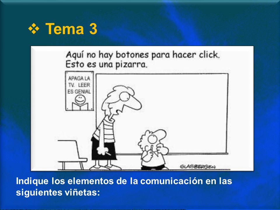 Tema 3 Indique los elementos de la comunicación en las siguientes viñetas: