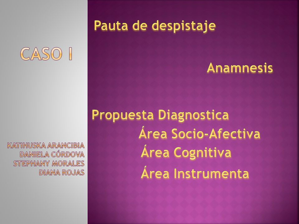 Caso I Pauta de despistaje Anamnesis Propuesta Diagnostica