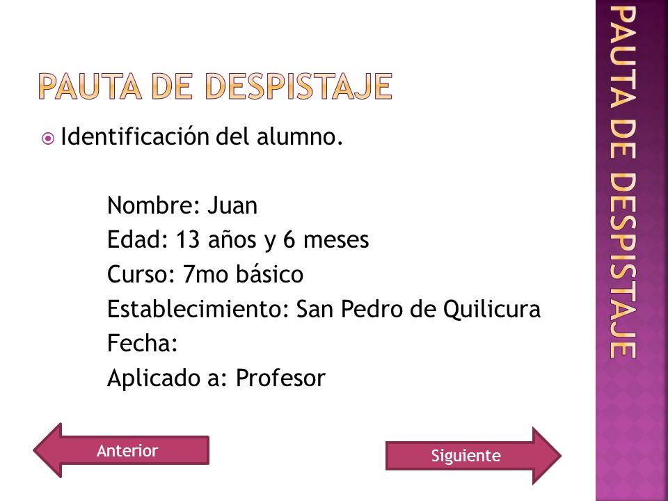 Pauta de despistaje Pauta de despistaje Identificación del alumno.