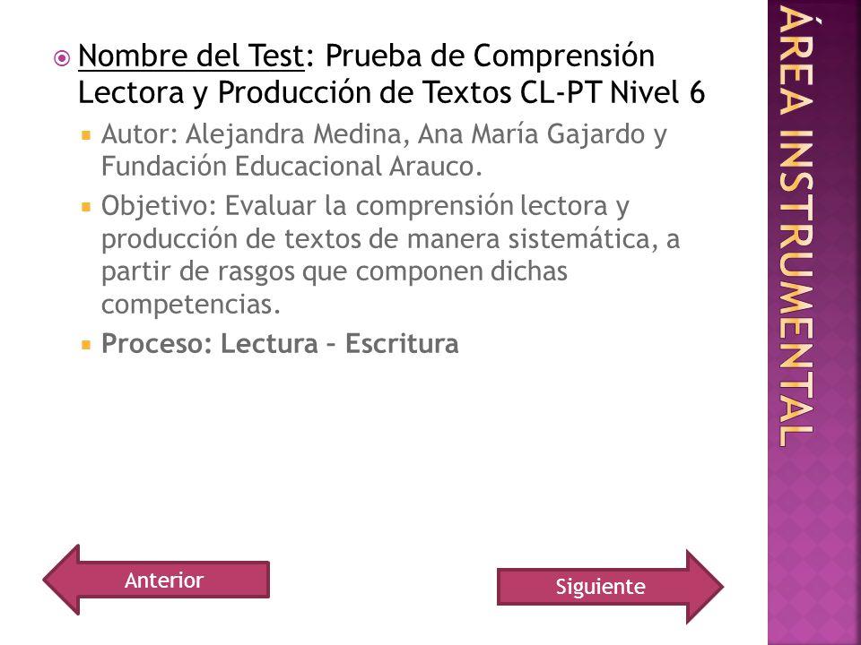 Nombre del Test: Prueba de Comprensión Lectora y Producción de Textos CL-PT Nivel 6