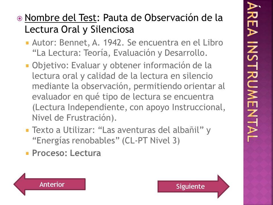 Nombre del Test: Pauta de Observación de la Lectura Oral y Silenciosa