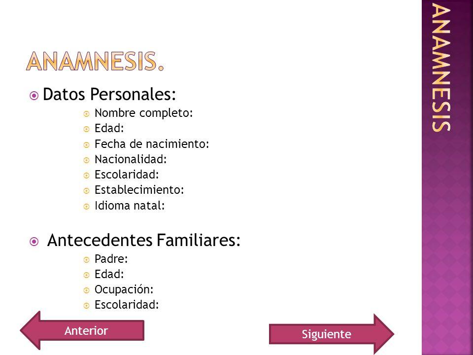 Anamnesis. Anamnesis Datos Personales: Antecedentes Familiares: