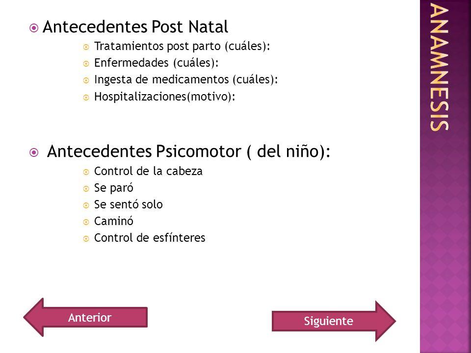 Anamnesis Antecedentes Post Natal Antecedentes Psicomotor ( del niño):