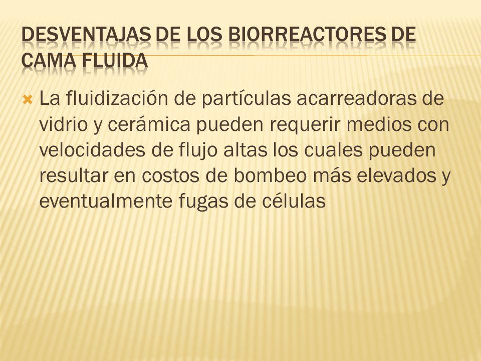 Desventajas de los biorreactores de cama fluida