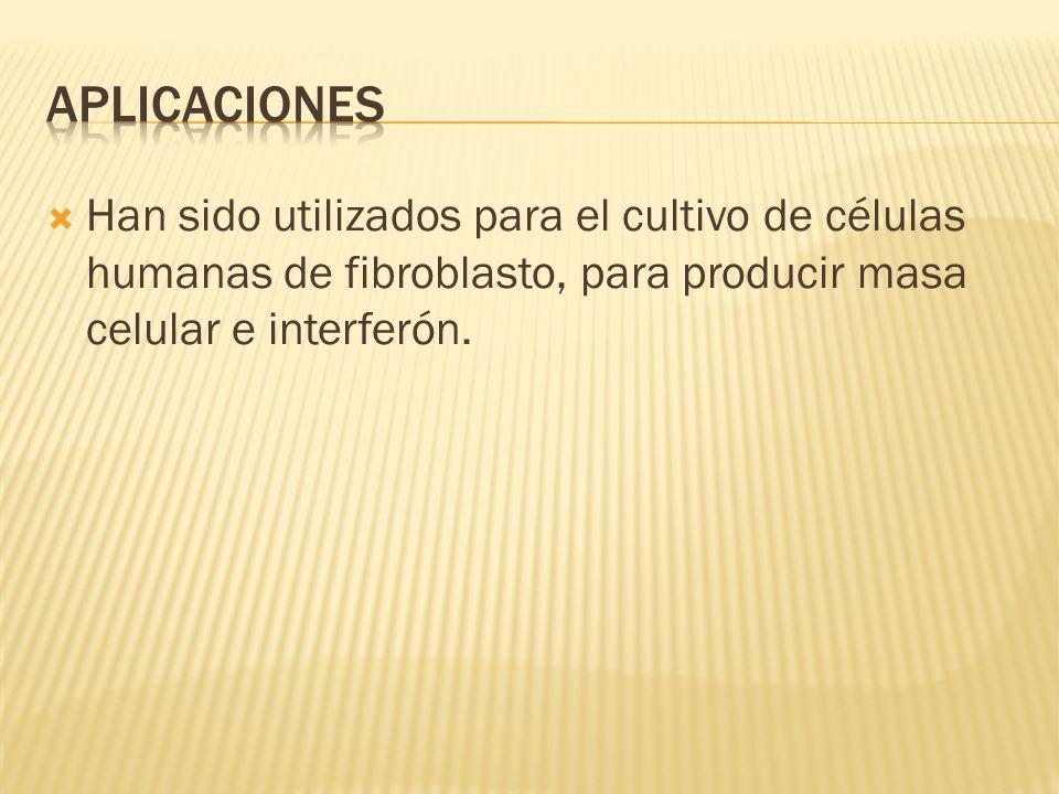 Aplicaciones Han sido utilizados para el cultivo de células humanas de fibroblasto, para producir masa celular e interferón.