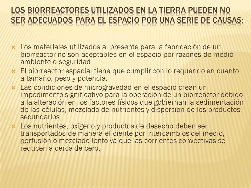 Los biorreactores utilizados en la tierra pueden no ser adecuados para el espacio por una serie de causas: