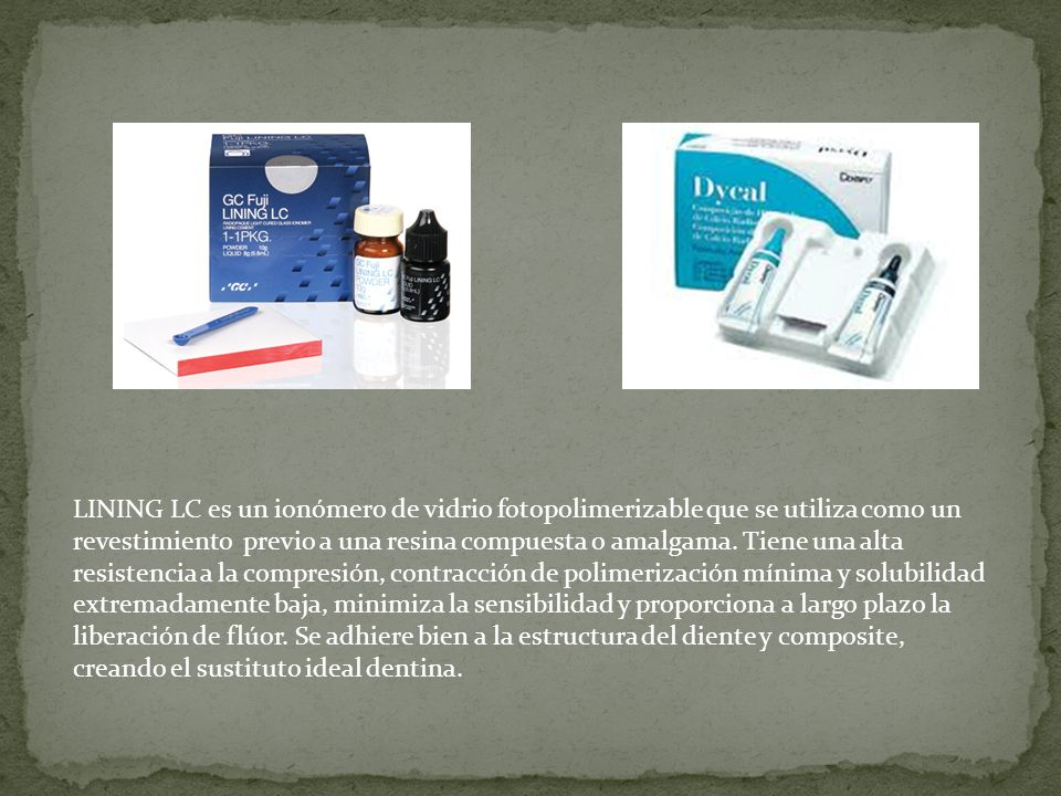LINING LC es un ionómero de vidrio fotopolimerizable que se utiliza como un revestimiento previo a una resina compuesta o amalgama.