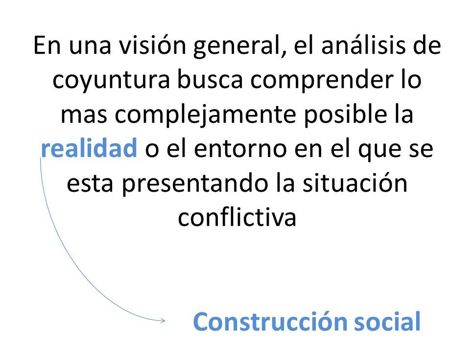 En una visión general, el análisis de coyuntura busca comprender lo mas complejamente posible la realidad o el entorno en el que se esta presentando la situación conflictiva