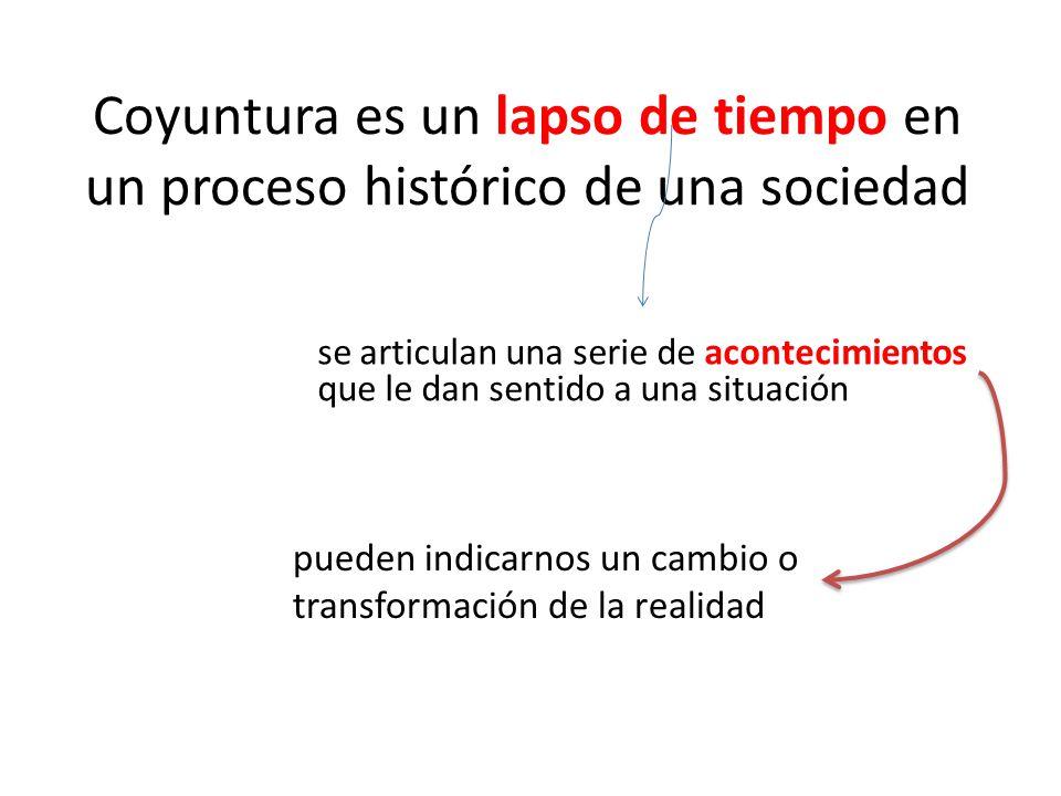 Coyuntura es un lapso de tiempo en un proceso histórico de una sociedad