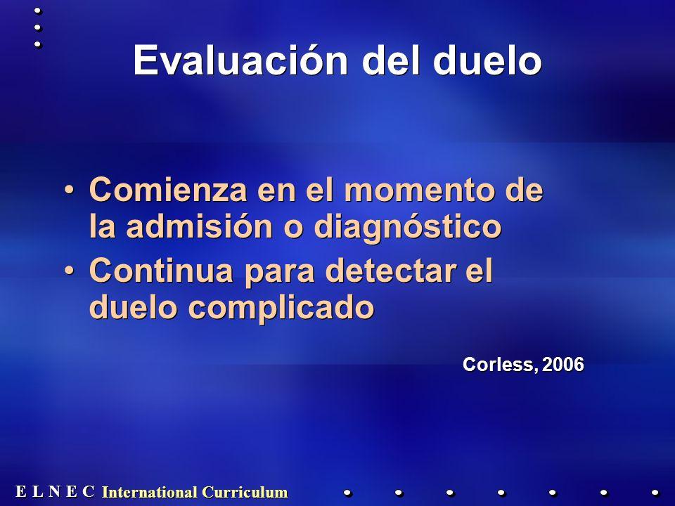 Evaluación del duelo Comienza en el momento de la admisión o diagnóstico. Continua para detectar el duelo complicado.