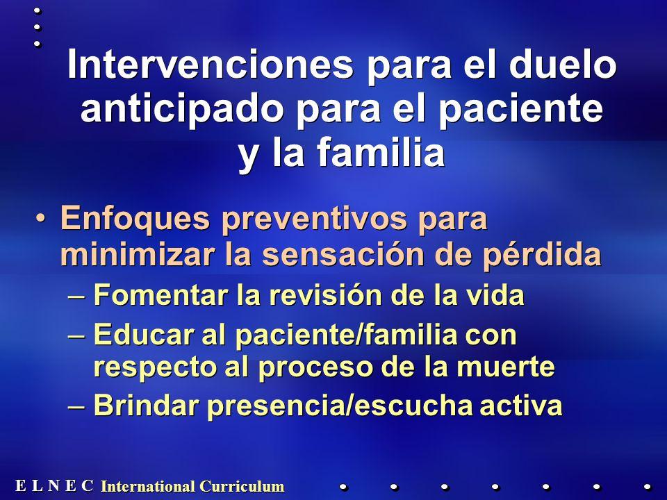 Intervenciones para el duelo anticipado para el paciente y la familia