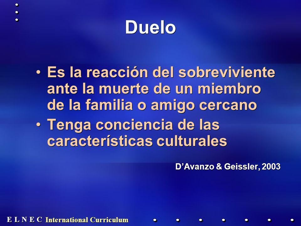 Duelo Es la reacción del sobreviviente ante la muerte de un miembro de la familia o amigo cercano.