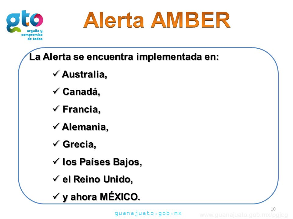 Alerta AMBER La Alerta se encuentra implementada en: Australia,