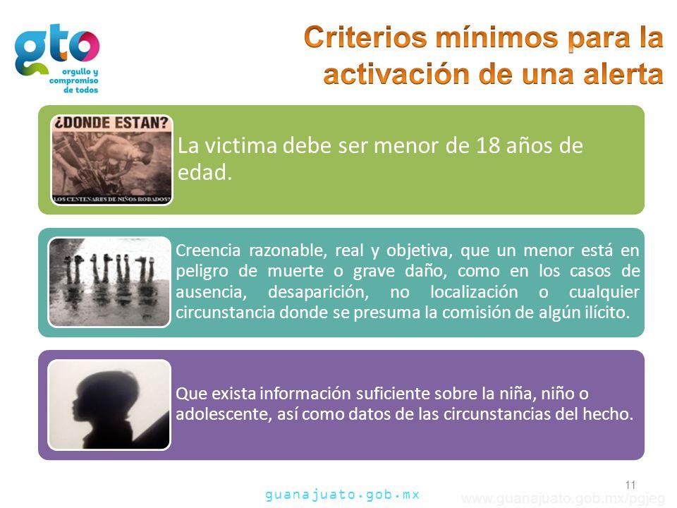 Criterios mínimos para la activación de una alerta