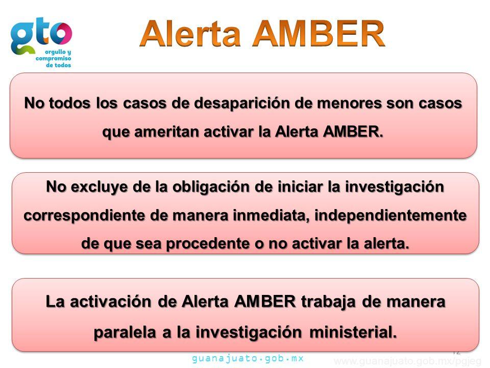 Alerta AMBER No todos los casos de desaparición de menores son casos que ameritan activar la Alerta AMBER.