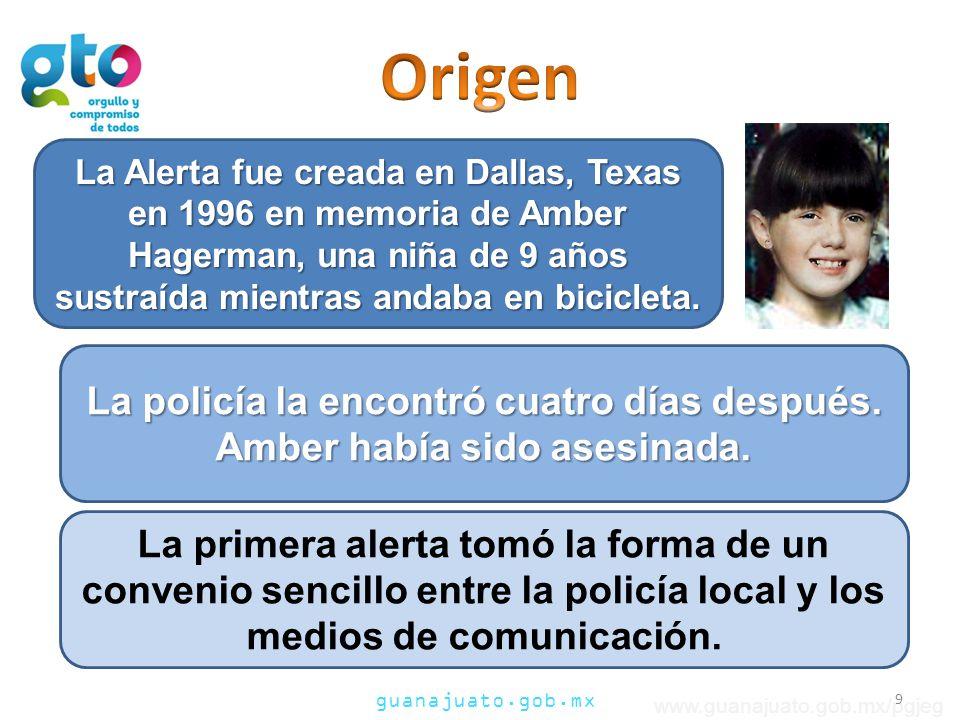 Origen La Alerta fue creada en Dallas, Texas en 1996 en memoria de Amber Hagerman, una niña de 9 años sustraída mientras andaba en bicicleta.