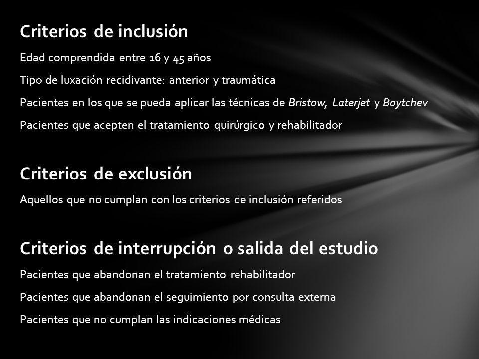 Criterios de inclusión